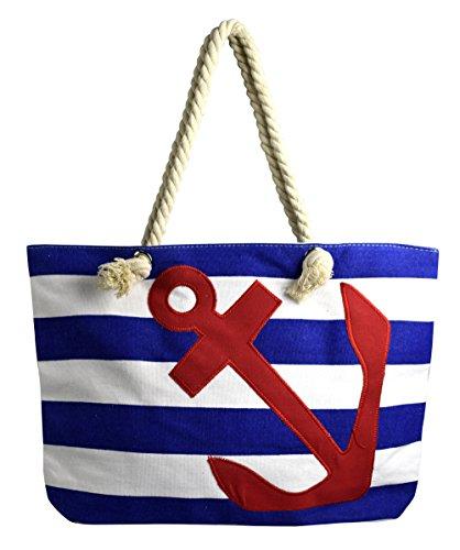 Peach Couture Nautical Anchor Print Bold Stripe Summer Purse Beach Bag Totes Blue