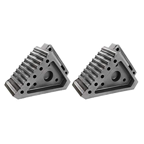 2 Pack Built Tough for All Weather and Surfaces Highly Visible Tire Chocks with Non Slip Traction Design and Handle SECURITYMAN RV and Trailer Wheel Chocks - Supports 36,000lbs and Odor Free