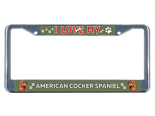 (Dwi24isty License Plate Frame American Cocker Spaniel Dog I Love Chrome Metal Tag Border US Size 12×6 Inches )