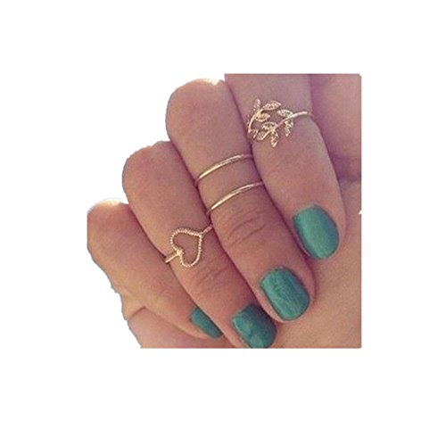 Woven Leaf Ring (Rings Set;START 4PCS Gold Plated Diamond Leaf&Heart Rings)
