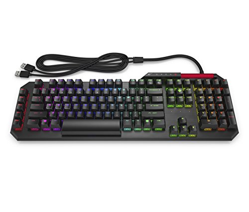 OMEN by HP Sequencer Wired USB Mechanical Optical Gaming Keyboard - 10x Faster - Blue Switch - Volume Roller Bar - 16.8M RGB Colors - Anti Ghosting