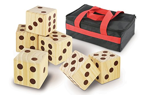 Kovot Oversize Wood Dice Set With Carry Bag - Includes (6) 3.5 Cubed Dice - Giant Wooden Dice Set Makes A Fun Family Yard Game