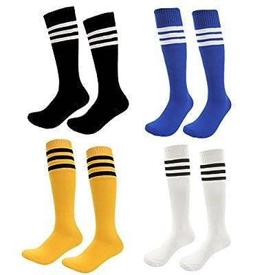 Kids Soccer Socks 4 Pack Boys Girls Cotton Team Socks Teens Children Soccer Socks