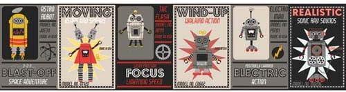 York Wallcoverings wk6749bd Waverly Kids Robotic境界線、ダークグレー/ベージュ/ブラック/ゴールデンイエロー/レッド/ホワイト