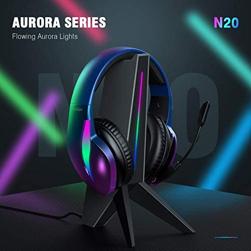 PeohZarr Gaming Headset Xbox One Headset PS4 Headset PS5 Headset, Flowing Aurora Lights Rainbow Lights Super Comfy Earmuffs, 7.1 Surround Sound Gaming Headset with Microphone Crystal Clear Sound