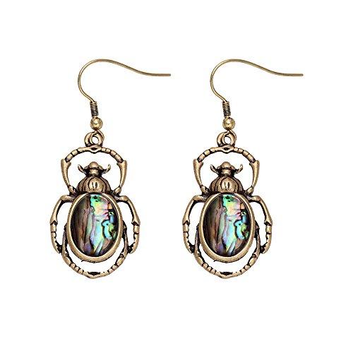 MANZHEN Antique Bronze Abalone Shell Bug Wildlife Necklace Scarab Earring Woodland Animal Jewelry Set (Earrings) (Scarab Earrings)