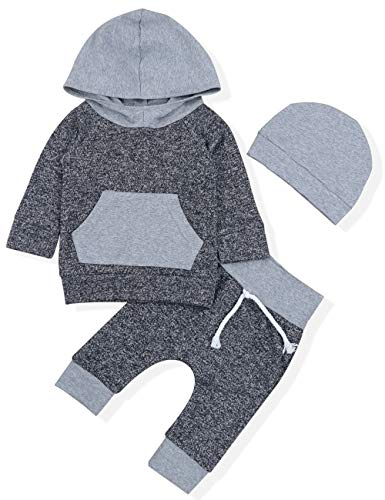 Newborn Baby Boy Clothes Sweater Hoodie Tops+ Pants & Cute Hat 3Pcs Outfits Set