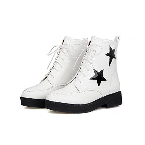 AgooLar Damen Gemischte Farbe Niedriger Absatz Reißverschluss Rund Zehe Stiefel, Weiß, 39
