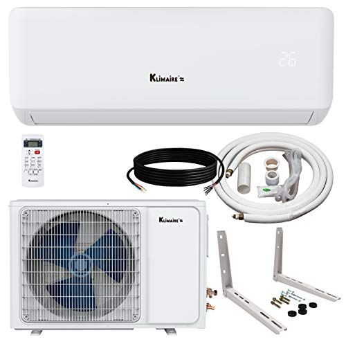 (Klimaire KSIA 17 SEER 12,000 BTU Ductless Mini-Split Inverter Air Conditioner Heat Pump System (12K BTU_115V))
