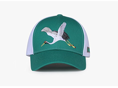 Ruanyi Baseball Cap,Cotton Embroidered Animal Pattern Chinese Flying White Crane Pattern For Men Women Couple (Color : Green)
