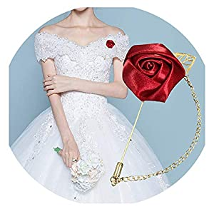 HuaHua-Store Artificial Rose Flower Groom Boutonniere Gold Alloy Bridal Wedding Decor Corsage Brooch Flower 5