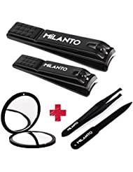 Milanto Nail Clippers Set Kit, Professional Fingernail and Toenail Cutter + Pocket Mirror + Tweezer