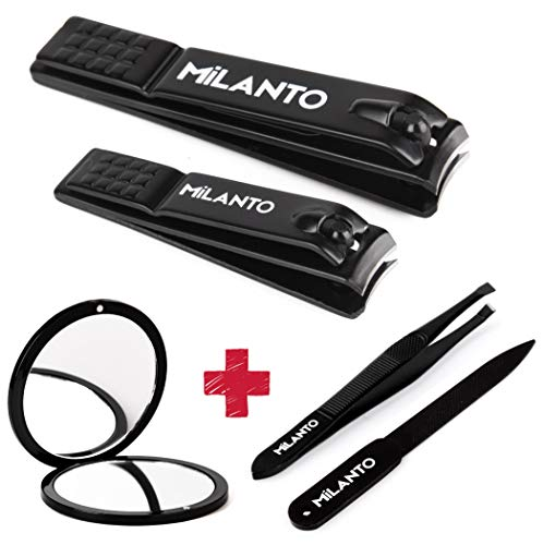 Milanto Nail Clippers Set Kit Professional Fingernail And Toenail Cutter Pocket Mirror Tweezer Nail File Heavy Duty Steel Cutters Sharp Manicure Pedicure Gift Set For Men And Women