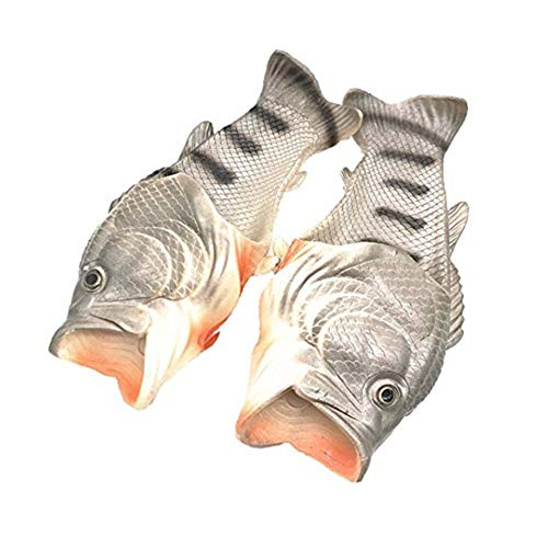 Couple Fish Slippers for Men and Women Creative Funny Beach Cool Non-Slip Fashion House Sandals Outdoor (US 13.5-14-women/US 11.5-12-men, Silver) by Moodeng