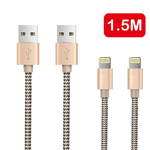 Price comparison product image OTISA 2Pack 5Ft Nylon Braided Lightning Cable with Ultra-compact Connector(Fits for most phone cases),  iphone charging cable for iPhone 5se / 6s / 6 / 6s plus / 5s / 5 / 7 / 7 plus,  iPad, iPod Compatible with Ios10