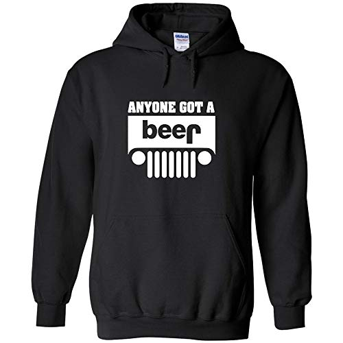 - Anyone Got A Beer Jeep White Logo Hoodie Off Road Funny Sarcastic Jumper Pullover Hooded Fleece Sweatshirt Adult Humor Joke Hood