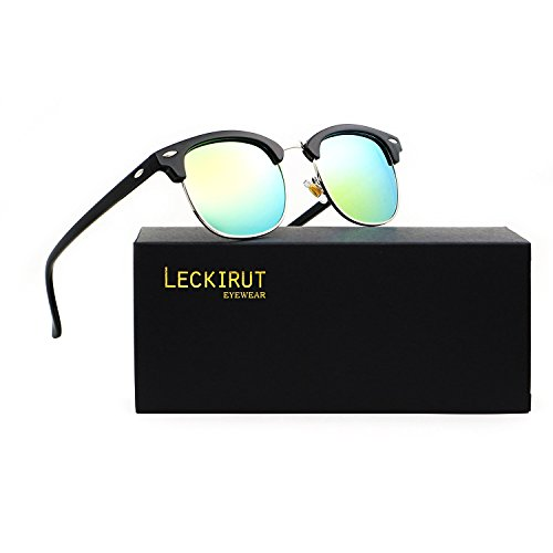Leckirut Semi Rimless Polarized Sunglasses Women Men Retro Sun Glasses Mirrored lens bright black silver frame/yellow - Semi Frames Rimless