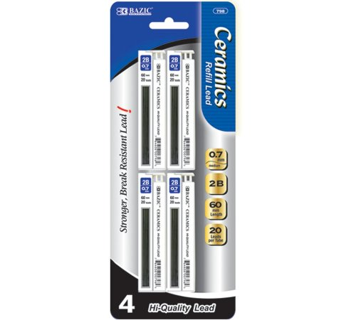 BAZIC 20 Ct. 0.7mm Ceramics Hi-Quality Mechanical Pencil Lead (4/Pack) (Case of 288) by Bazic