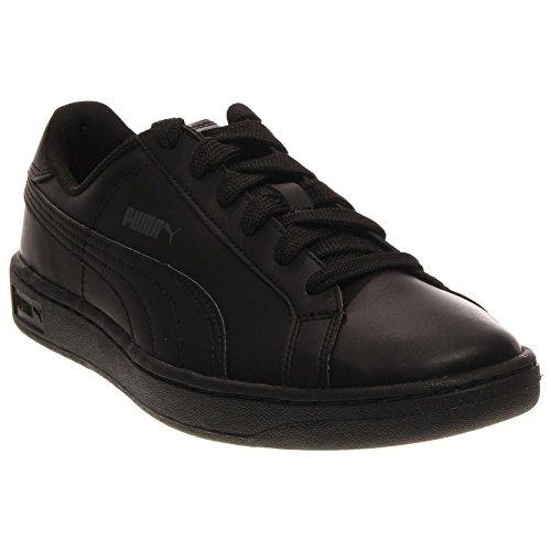 PUMA Smash Leather JR Sneaker (Little Kid/Big Kid) , Black/Black/Dark