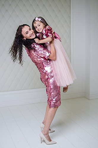 Pink Mother daughter matching dresses Pink tutu sequin outfits, Christmas dressses party dress, birthday Mommy and Me sequin dress by MatchingLook