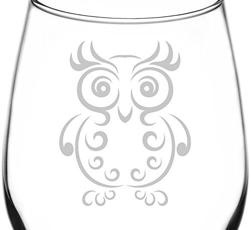 (Swirl Chest) Swirly & Curved Ornamental Owl Inspired – Laser Engraved 12.75oz Libbey All-Purpose Wine Taster Glass For Sale