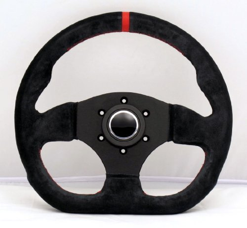 Sport Line Racing Steering Wheel - Competition - 300mm (11.81 inches) - Black Suede Leather with Red Stitching and Red Center Stripe - Black Spokes - Part # ()