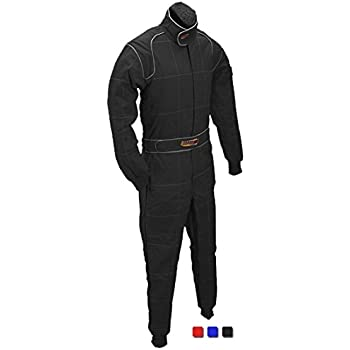 Racerdirect SFI 3.2A//5 Racing FIRE Suit 1 Piece Driving Suit Double Layer 3-2A//5 Black Adult Medium