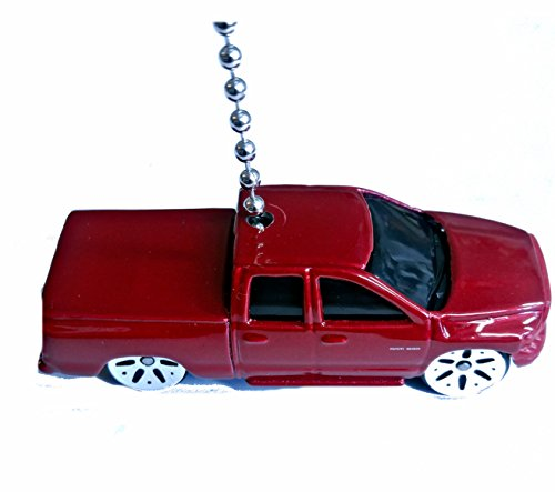 Maisto DODGE Diecast Truck Ceiling Fan Pull & Light Pull Ornament 1:64 (2002 Dodge Ram Quad Cab - RED) (7 Ram Lighting Pendant)