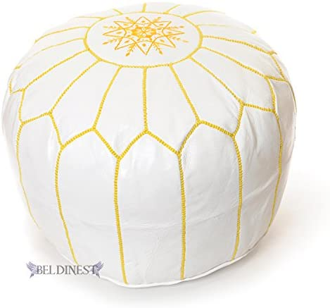 Stuffed Moroccan Ottoman White/Yellow Leather Pouf Handmade Pouffe