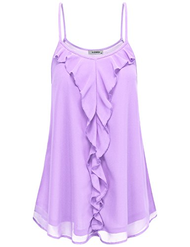 Crepe Cami - Chiffon Tank Tops Women Loose Fit, Youth Girls Summer Casual Clothing Basic Simple Solid Color Flared Sleeveless Crepe Flounce Dress Shirt Tunic Blosue Light Purple L