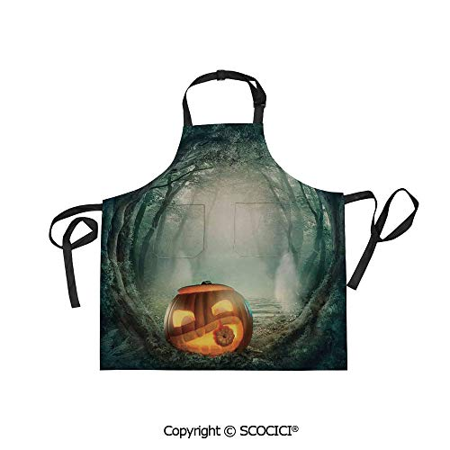 SCOCICI Men Woman Kitchen Printed Apron with Adjustable Neck 2 Side Pockets,Scary Halloween Pumpkin Enchanted Forest Mystic Twilight Party Art,for Cooking Baking Gardening ()
