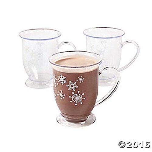 6 Plastic Winter Retreat Snowflake Holiday Mugs