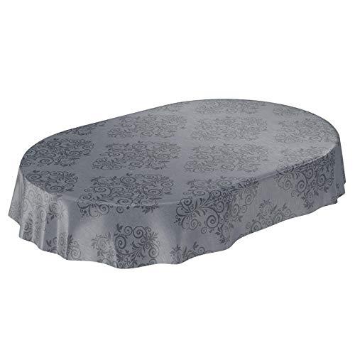 ANRO Mantel de Hule para Mesa (240 x 140 cm), Color Gris Antracita, Toalla, Oval 140 x 240cm