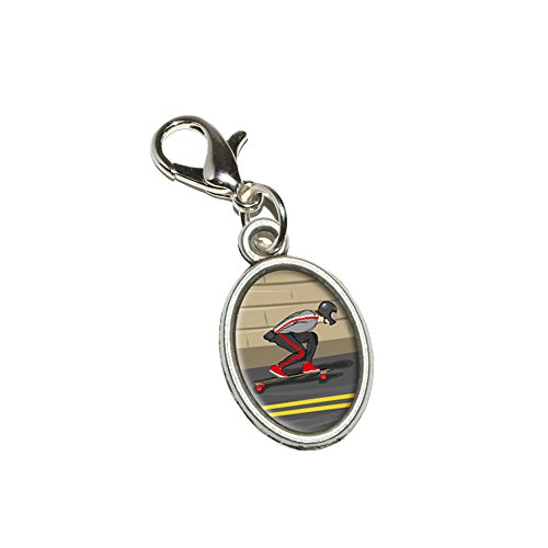 Graphics and More Longboarding Skateboarding - Longboard Antiqued Bracelet Pendant Zipper Pull Oval Charm with Lobster Clasp