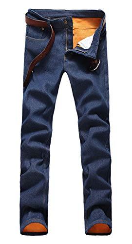 - Men's Winter Warm Fleece Lined Down Slim Fit Thicken Elastic Jean Pants Blue 32