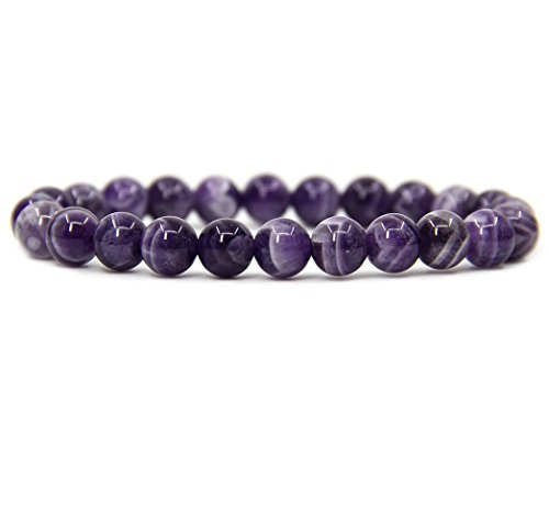 "Natural African Amethyst Gemstone 8mm Round Beads Stretch Bracelet 7"" Unisex"