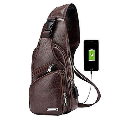 Mens Vintage Leather Sling Bag Shoulder Messenger Crossbody Pack with USB Charge Port Casual Bag Dark Brown