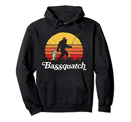 Bassquatch! Funny Bigfoot Fishing Outdoor Retro Hoodie (Bass Hoodie Kids)