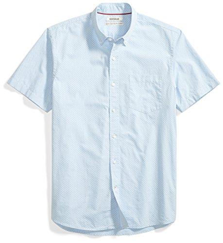 Goodthreads Men's Standard-Fit Short-Sleeve Printed Poplin Shirt, blue/white Medium ()