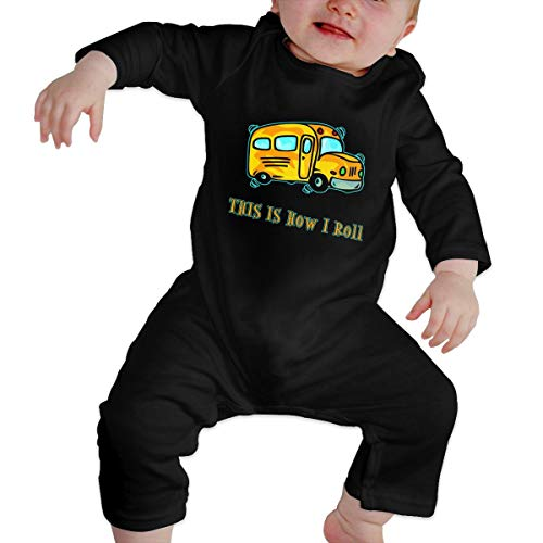 TREEWw How I Roll School Bus Baby Boys' Girls' Long Sleeve Romper Pajama Clothes Overalls