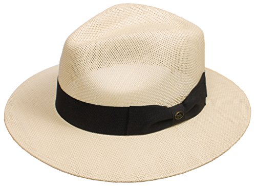 DRY77 EpochLine Summer Cool Outback Panama Wide Large Brim Fedora Straw Hat Sun, Natural, L/XL