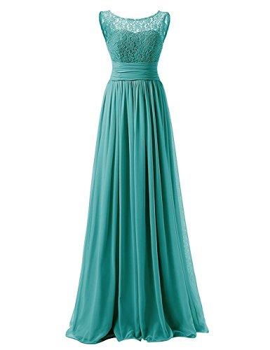 Elegant Long Chiffon Bridesmaid Dress Lace Mother of Bride Party Dress Jade US22W