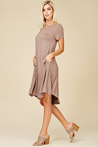 Sleeve Annabelle Comfy Scoop Short Pockets Swing Mocha Dresses with Neck Women's Frtw5r