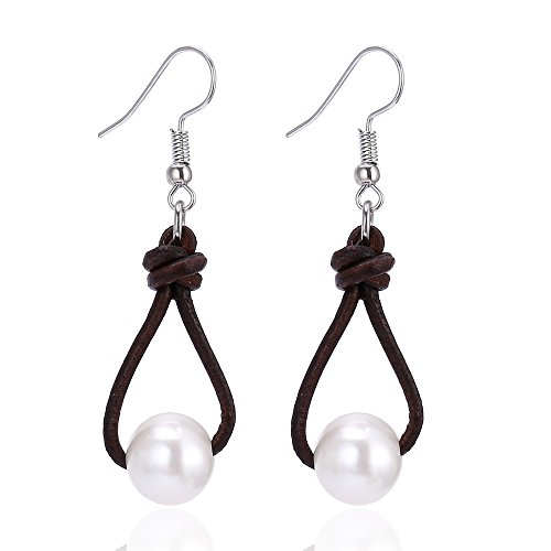 Women's Freshwater Cultured Pearl Earring Genuine Leather Drop Pendant Dangle Earrings-Brown ()
