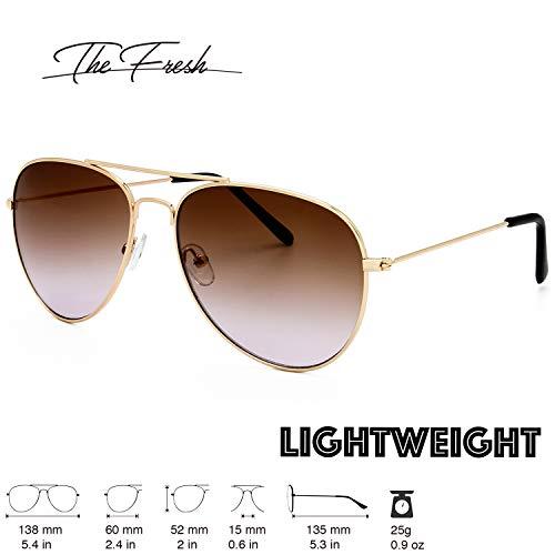 The Fresh Classic Metal Frame Oceanic Color Lens Aviator Sunglasses Gift Box