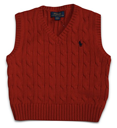 Polo Ralph Lauren Toddler Boys Cable Knit Sweater Vest (2/2T 2T) Red - V-neck All Over Cable Sweater