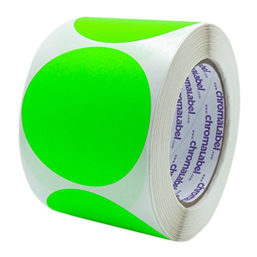 (ChromaLabel 3 inch Color-Code Dot Labels | 500/Roll (Fluorescent Green))