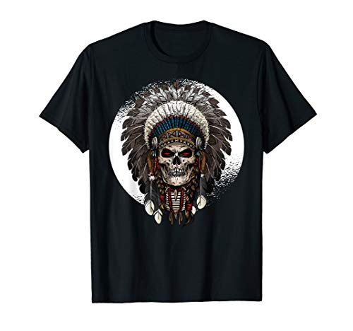 Indian Chief Warrior Skull t shirt; Native t shirt;