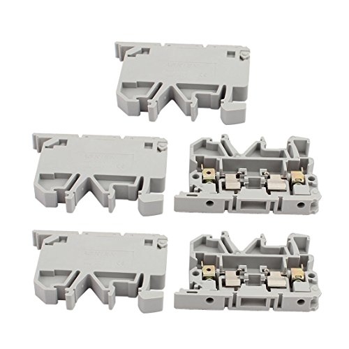 uxcell 5Pcs ASK1EN DIN Rail Mount Fuse Holder Terminal Block 500V 4mm2 Cable Gray
