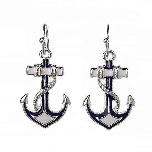 DianaL Boutique Beautiful Silvertone Nautical Anchor Earrings Enameled Gift Boxed Fashion Jewelry